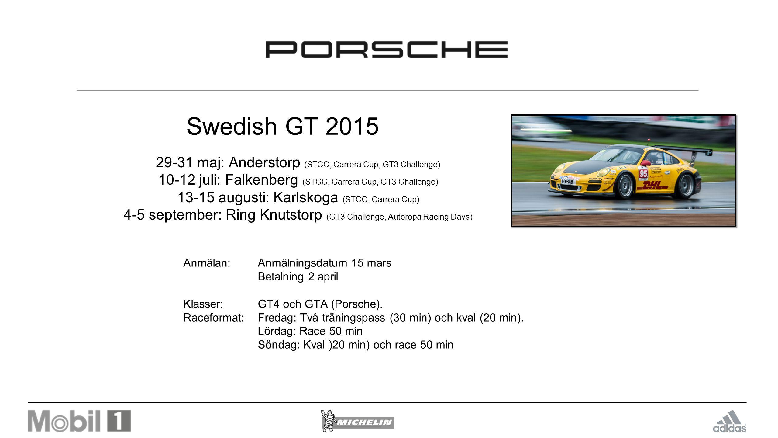 Swedish GT 2015 29-31 maj: Anderstorp (STCC, Carrera Cup, GT3 Challenge) 10-12 juli: Falkenberg (STCC, Carrera Cup, GT3 Challenge)
