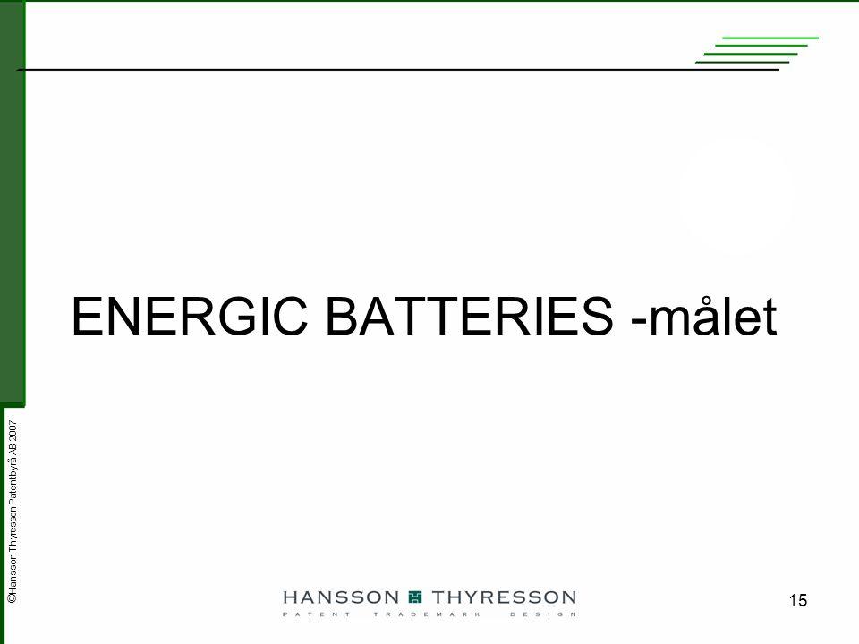ENERGIC BATTERIES -målet