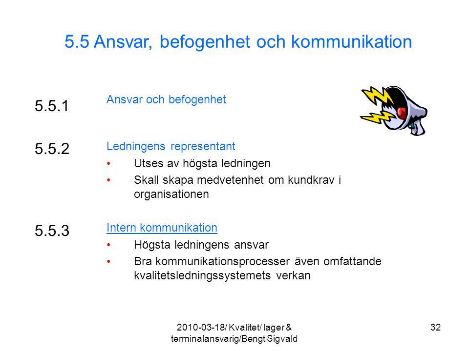 5.5 Ansvar, befogenhet och kommunikation