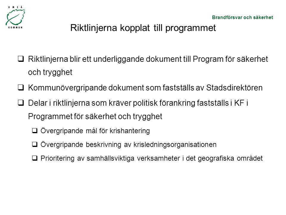 Riktlinjerna kopplat till programmet