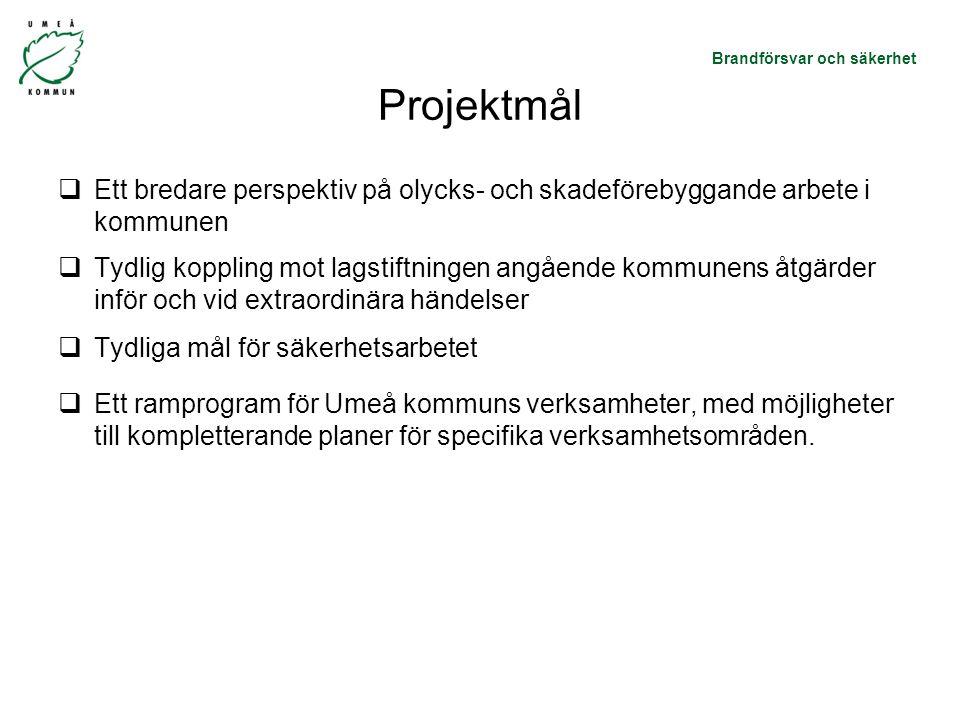 Projektmål Ett bredare perspektiv på olycks- och skadeförebyggande arbete i kommunen.