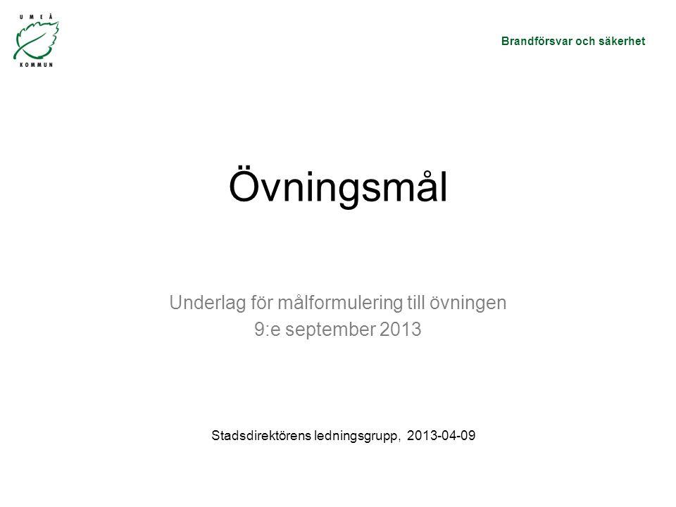 Underlag för målformulering till övningen 9:e september 2013