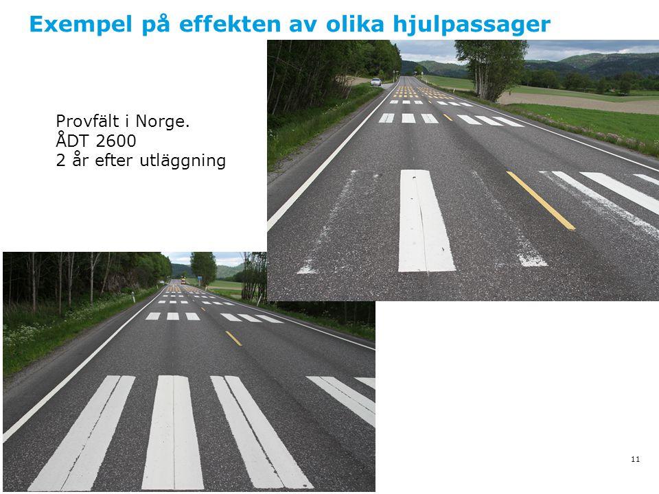 Exempel på effekten av olika hjulpassager