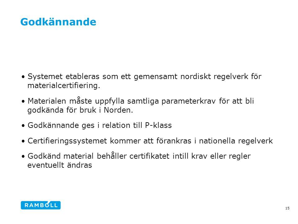 Godkännande Systemet etableras som ett gemensamt nordiskt regelverk för materialcertifiering.