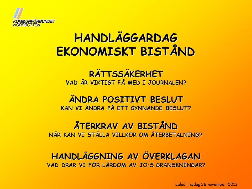 HANDLÄGGARDAG EKONOMISKT BISTÅND