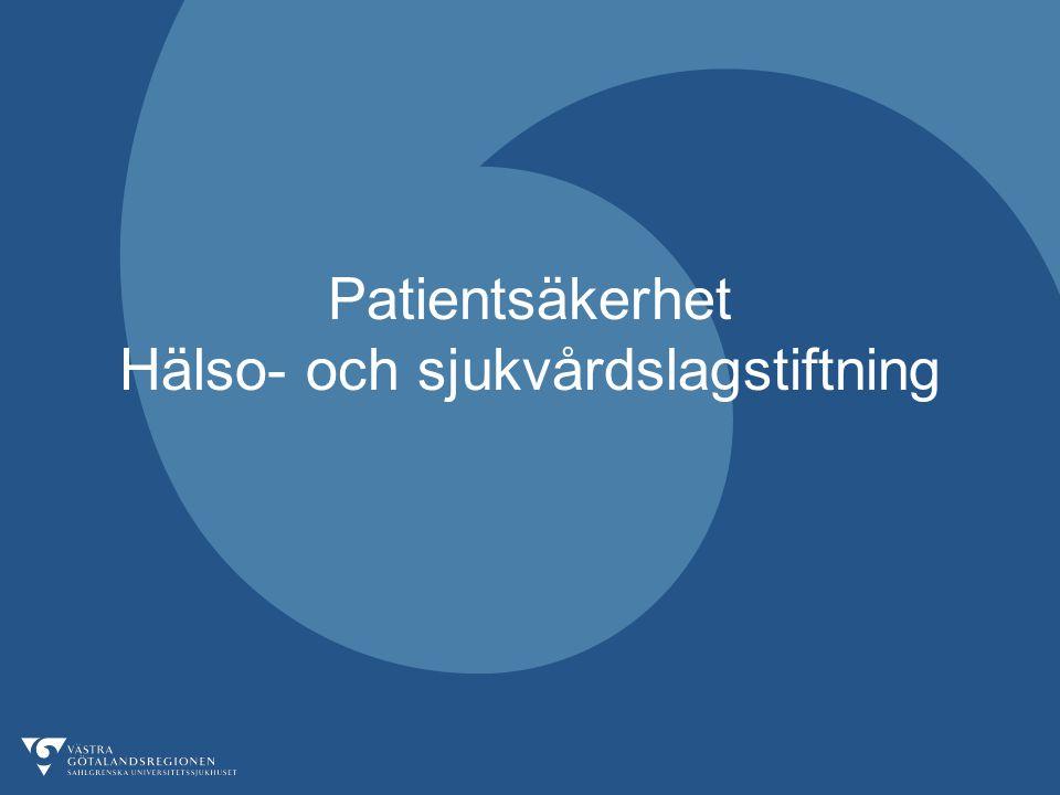 Patientsäkerhet Hälso- och sjukvårdslagstiftning