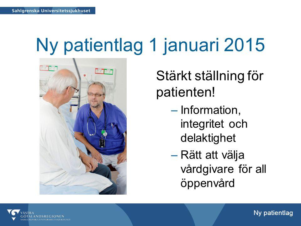 Ny patientlag 1 januari 2015 Stärkt ställning för patienten!