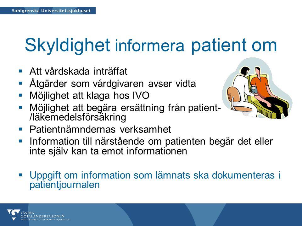 Skyldighet informera patient om