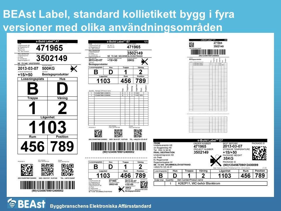 BEAst Label, standard kollietikett bygg i fyra versioner med olika användningsområden