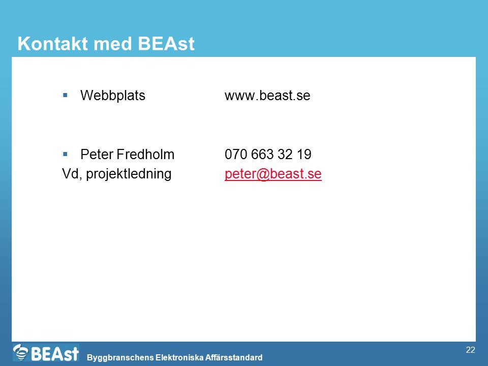 Kontakt med BEAst Webbplats www.beast.se Peter Fredholm 070 663 32 19
