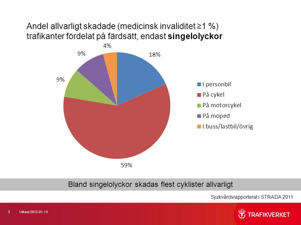Bland singelolyckor skadas flest cyklister allvarligt