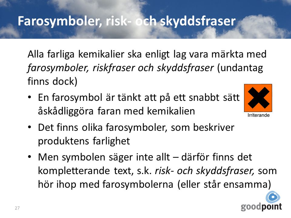 Farosymboler, risk- och skyddsfraser
