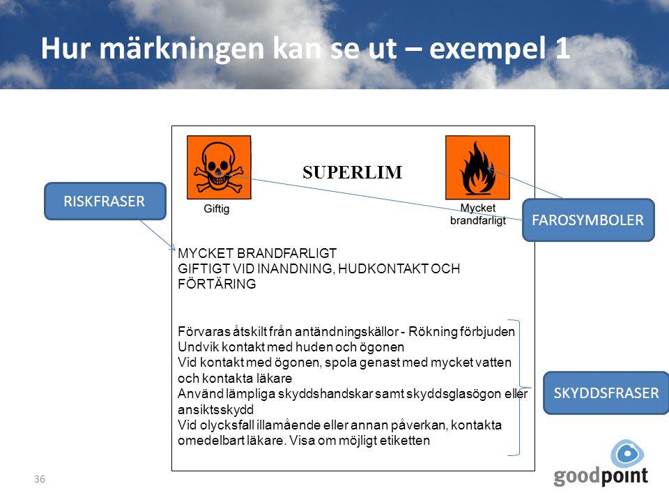Hur märkningen kan se ut – exempel 1