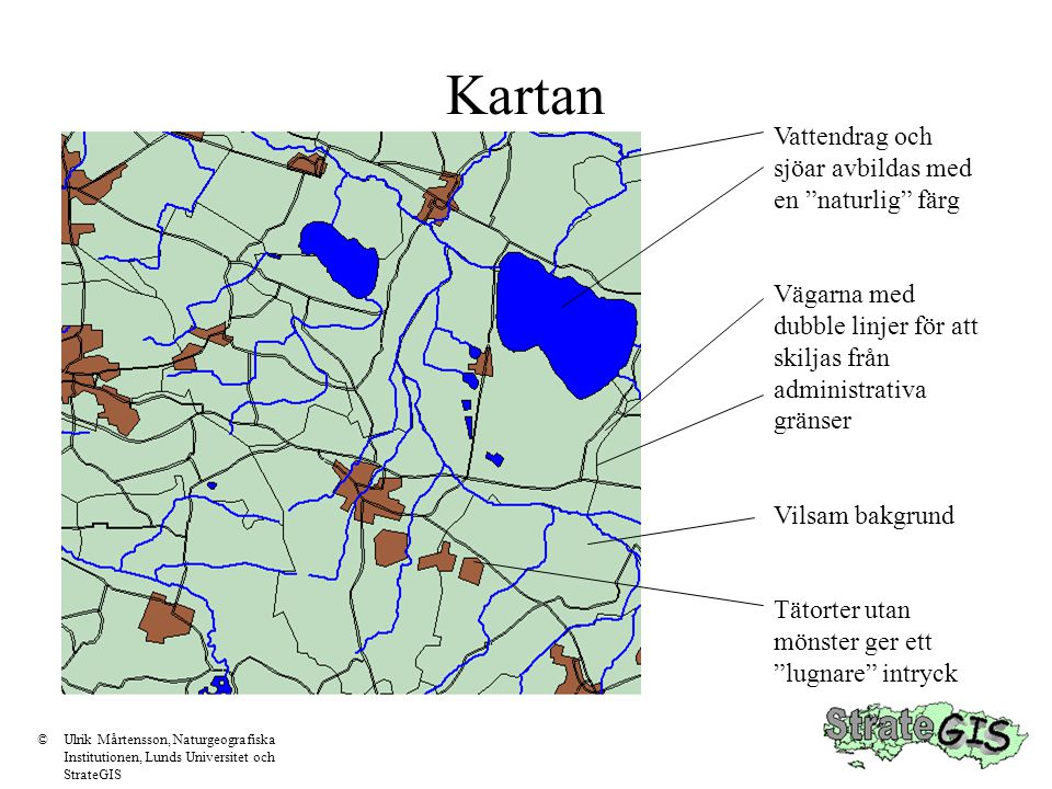 Kartan Vattendrag och sjöar avbildas med en naturlig färg