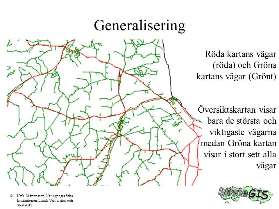 Generalisering Röda kartans vägar (röda) och Gröna kartans vägar (Grönt)
