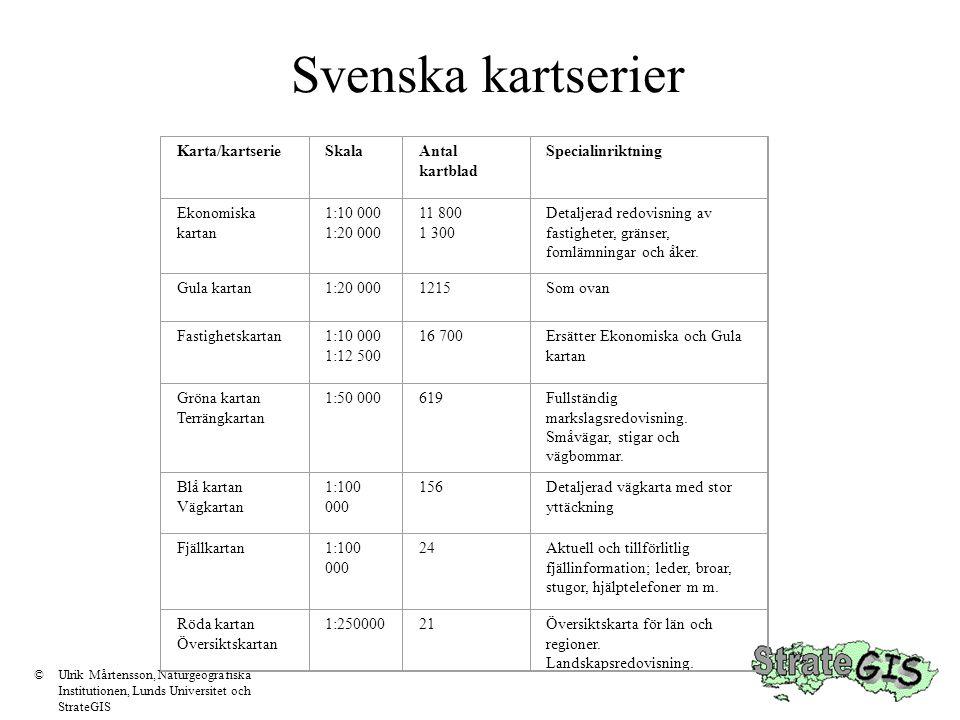 Svenska kartserier Karta/kartserie Skala Antal kartblad