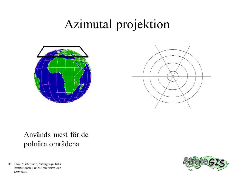 Azimutal projektion Används mest för de polnära områdena