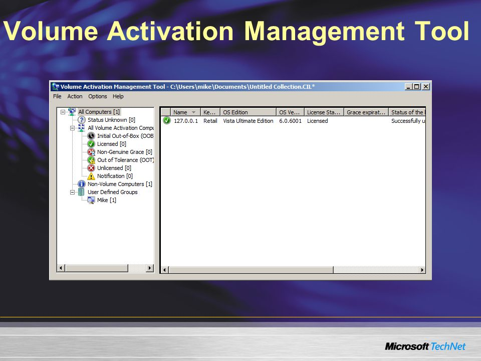 Volume Activation Management Tool