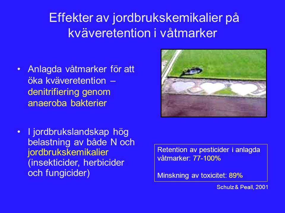 Effekter av jordbrukskemikalier på kväveretention i våtmarker