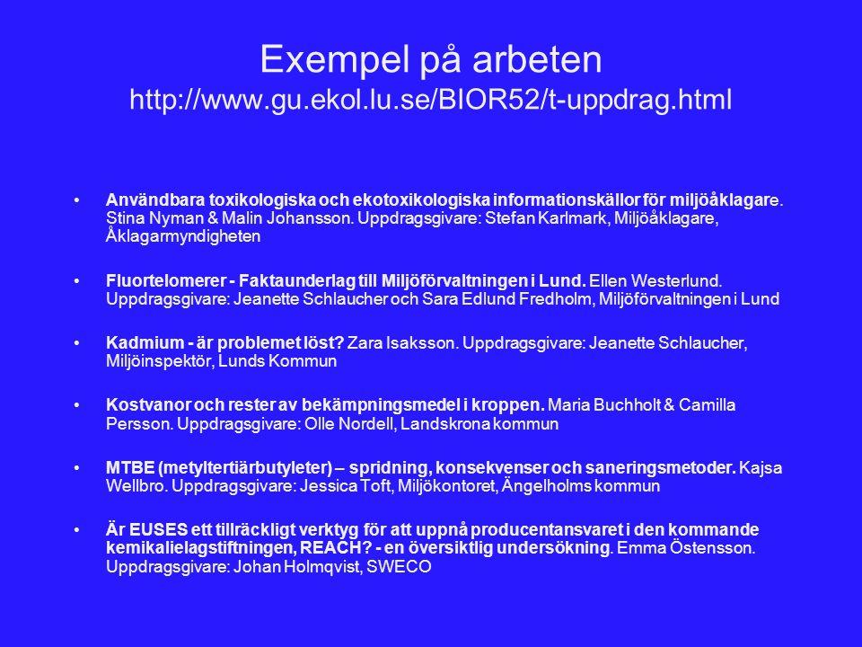 Exempel på arbeten http://www.gu.ekol.lu.se/BIOR52/t-uppdrag.html