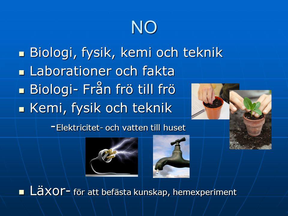 NO Biologi, fysik, kemi och teknik Laborationer och fakta