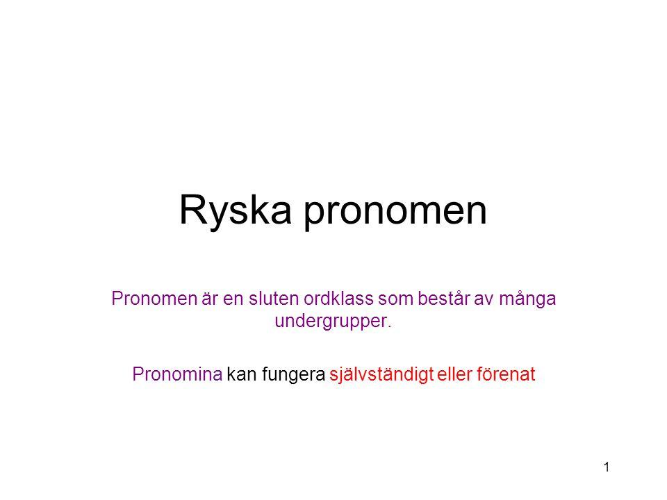 Ryska pronomen Pronomen är en sluten ordklass som består av många undergrupper.