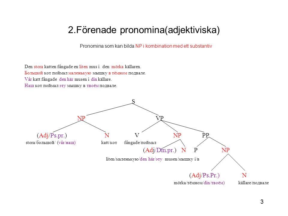 2.Förenade pronomina(adjektiviska) Pronomina som kan bilda NP i kombination med ett substantiv