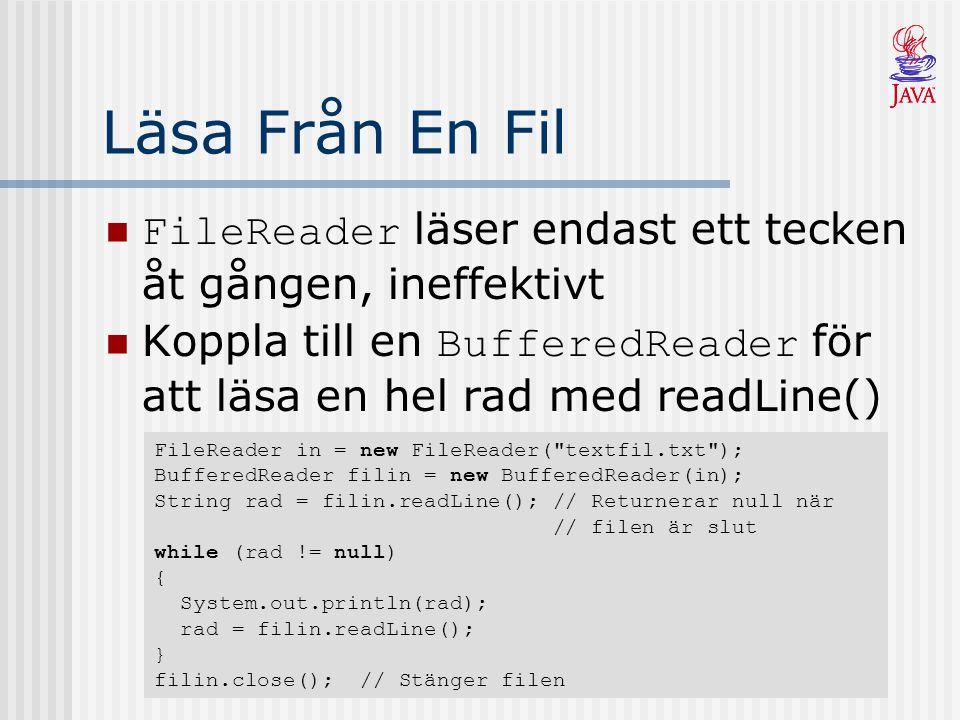 Läsa Från En Fil FileReader läser endast ett tecken åt gången, ineffektivt. Koppla till en BufferedReader för att läsa en hel rad med readLine()