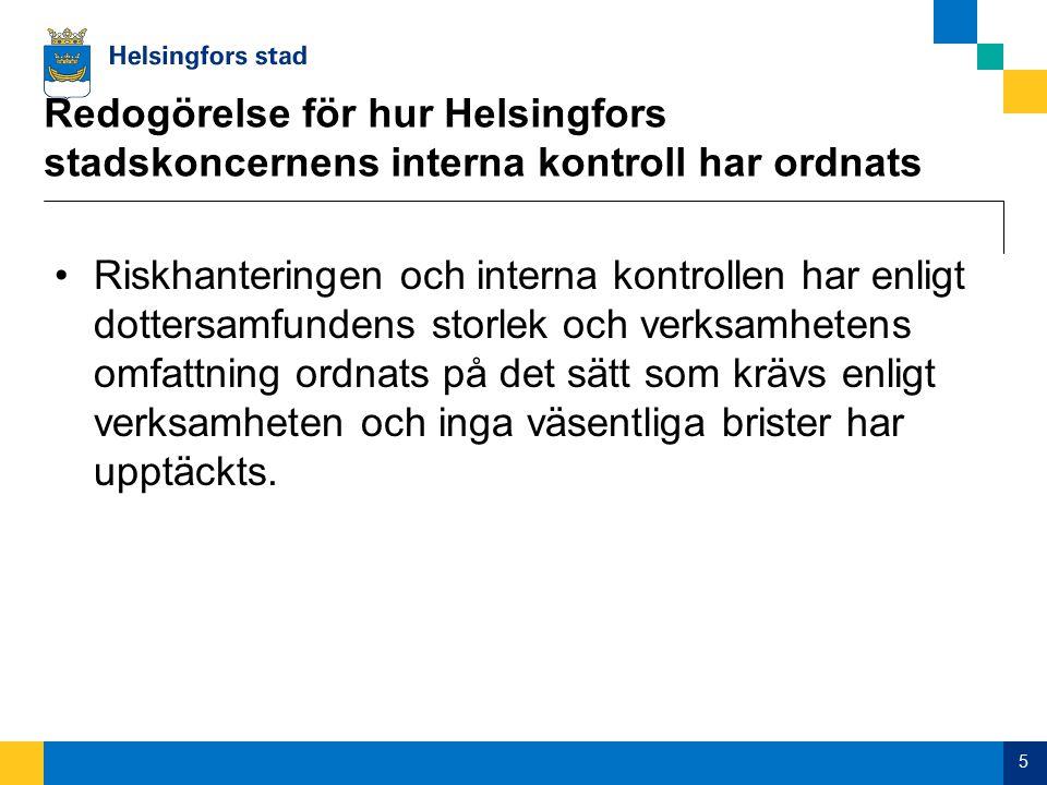 Redogörelse för hur Helsingfors stadskoncernens interna kontroll har ordnats