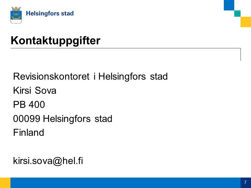 Kontaktuppgifter Revisionskontoret i Helsingfors stad Kirsi Sova