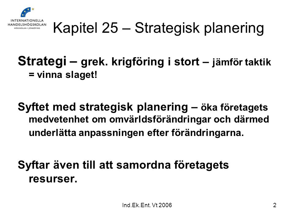 Kapitel 25 – Strategisk planering