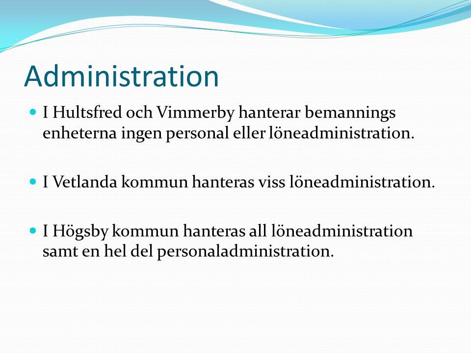 Administration I Hultsfred och Vimmerby hanterar bemannings enheterna ingen personal eller löneadministration.