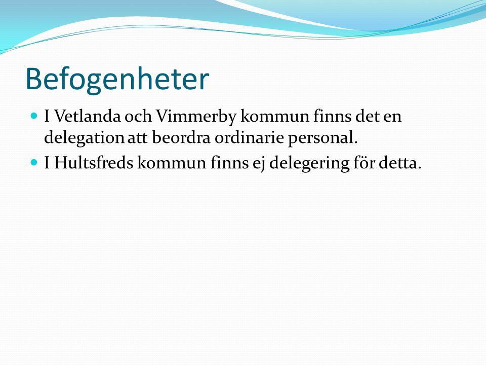 Befogenheter I Vetlanda och Vimmerby kommun finns det en delegation att beordra ordinarie personal.