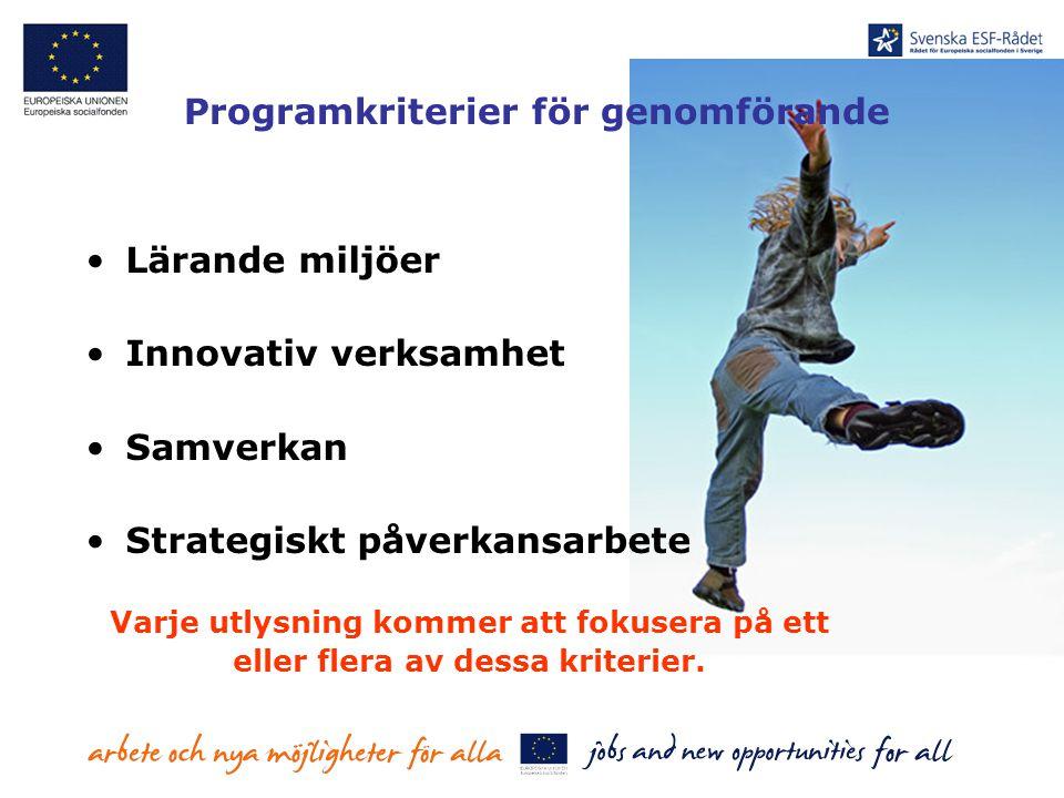 Programkriterier för genomförande