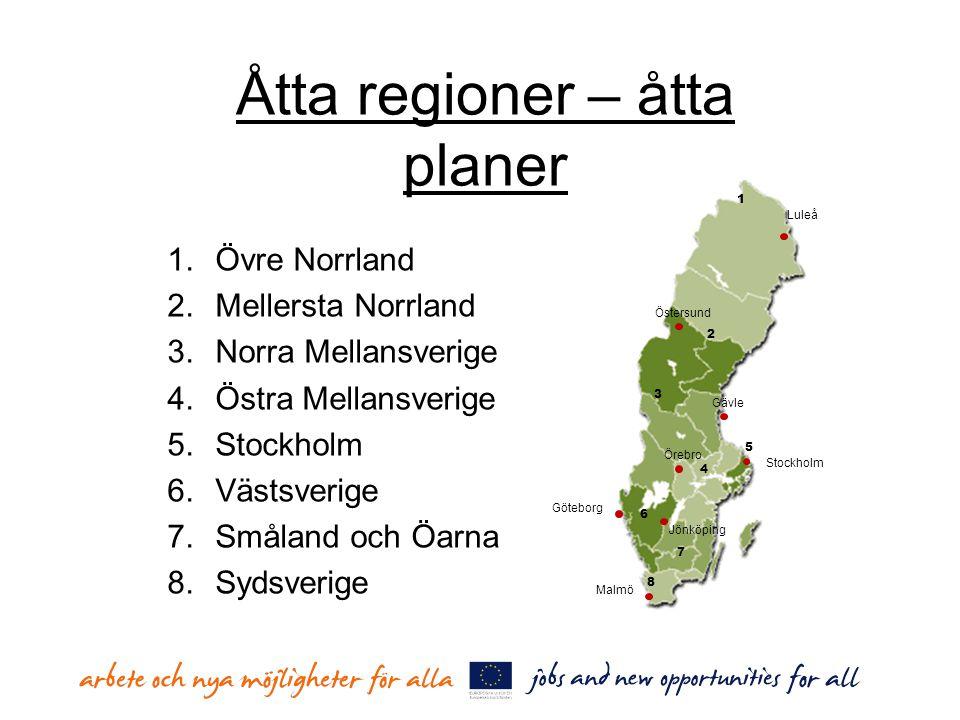 Åtta regioner – åtta planer