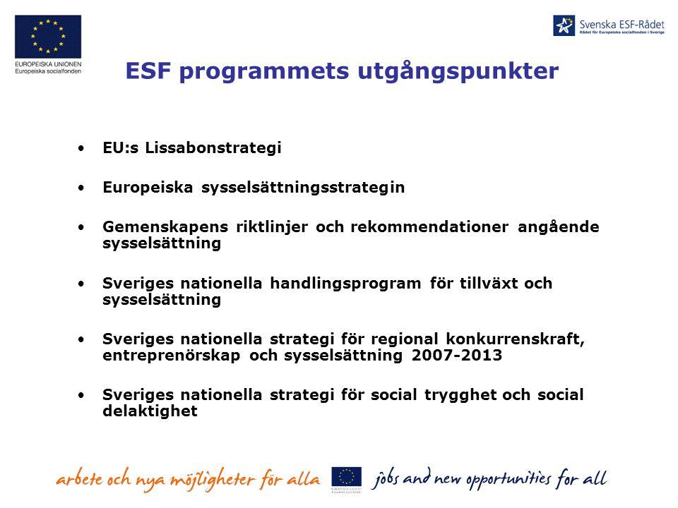 ESF programmets utgångspunkter