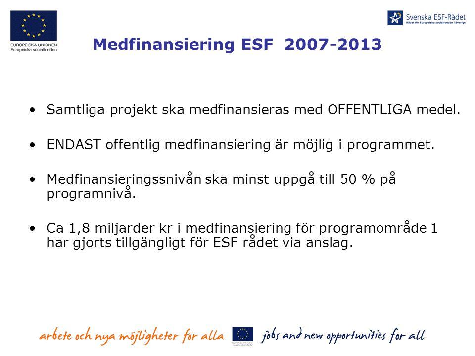 Version 20070323 Medfinansiering ESF 2007-2013. Samtliga projekt ska medfinansieras med OFFENTLIGA medel.