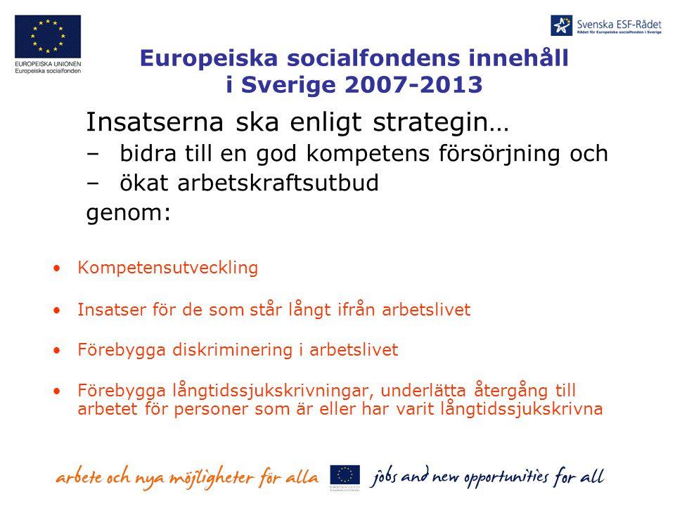 Europeiska socialfondens innehåll i Sverige 2007-2013