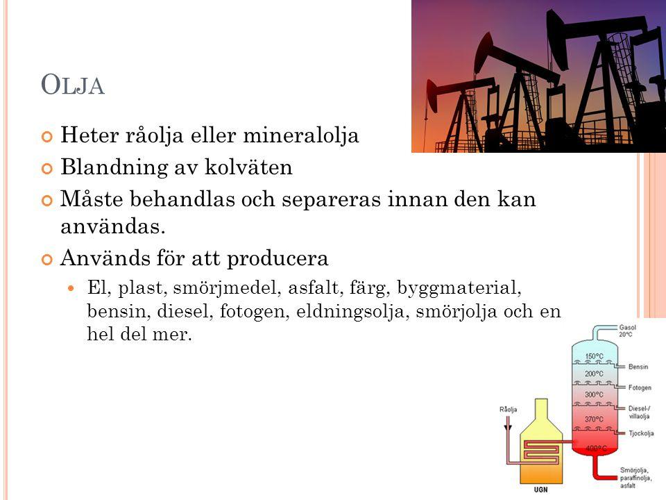 Olja Heter råolja eller mineralolja Blandning av kolväten