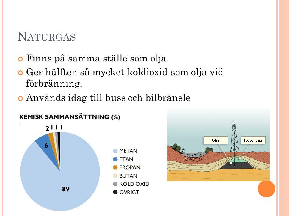 Naturgas Finns på samma ställe som olja.