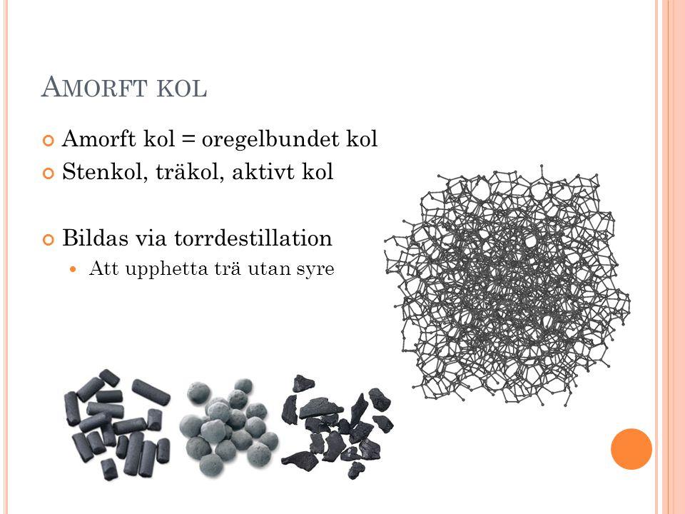 Amorft kol Amorft kol = oregelbundet kol Stenkol, träkol, aktivt kol
