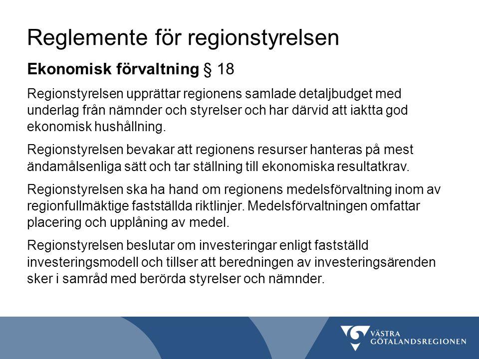Reglemente för regionstyrelsen