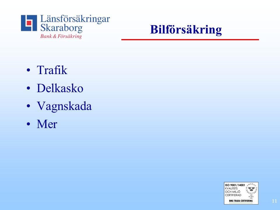 Bilförsäkring Trafik Delkasko Vagnskada Mer