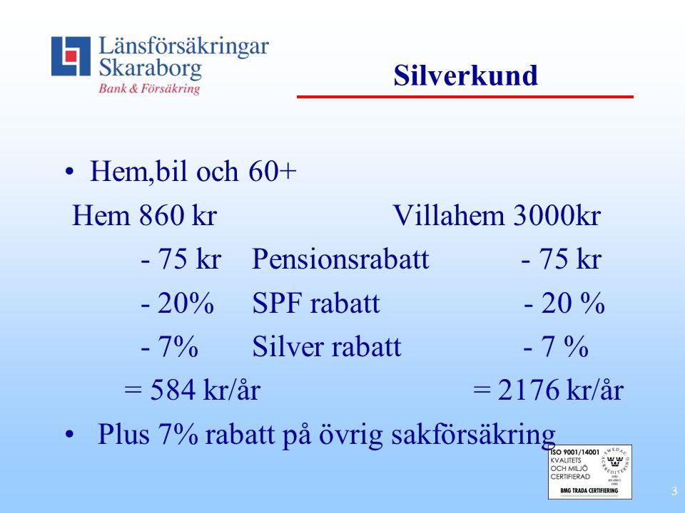 Silverkund Hem,bil och 60+ Hem 860 kr Villahem 3000kr. - 75 kr Pensionsrabatt - 75 kr.