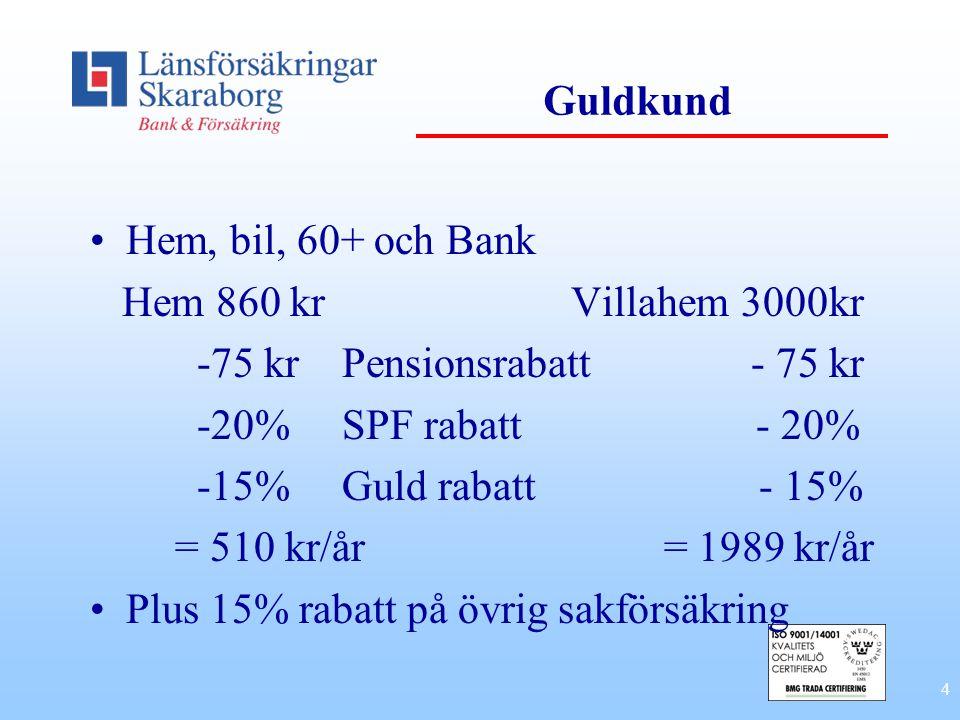 Guldkund Hem, bil, 60+ och Bank. Hem 860 kr Villahem 3000kr. -75 kr Pensionsrabatt - 75 kr.