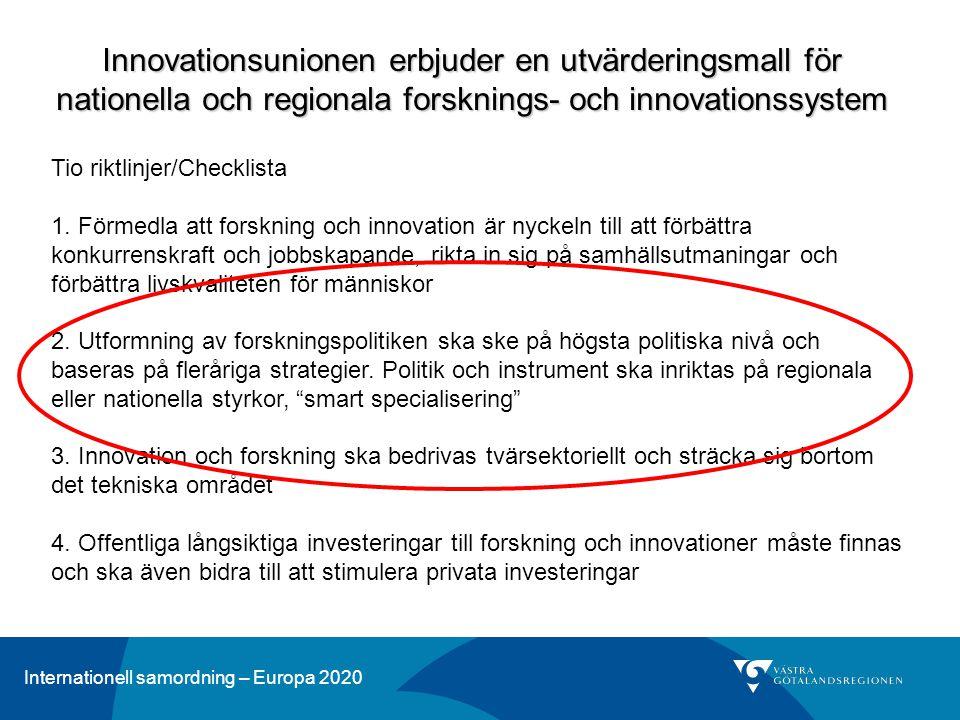 Innovationsunionen erbjuder en utvärderingsmall för nationella och regionala forsknings- och innovationssystem
