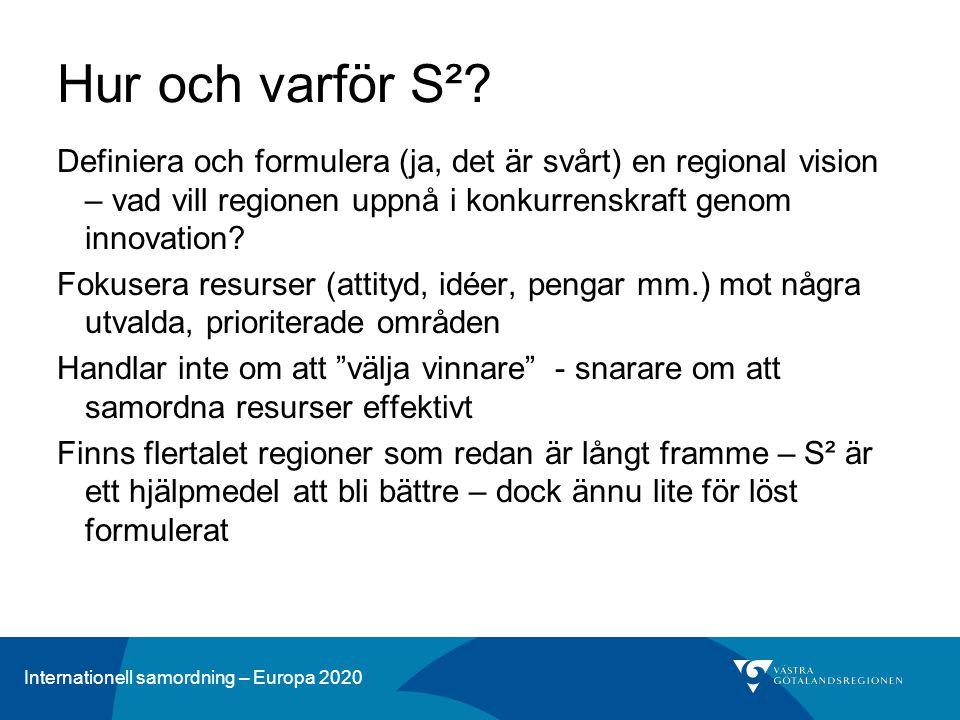 Hur och varför S² Definiera och formulera (ja, det är svårt) en regional vision – vad vill regionen uppnå i konkurrenskraft genom innovation