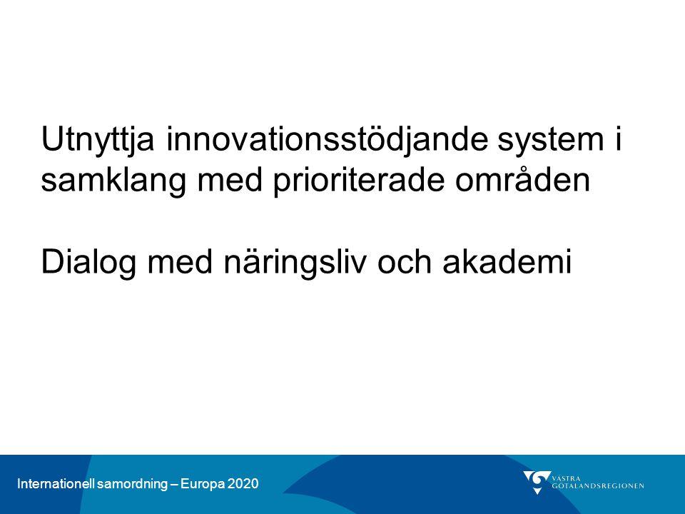 Utnyttja innovationsstödjande system i samklang med prioriterade områden Dialog med näringsliv och akademi