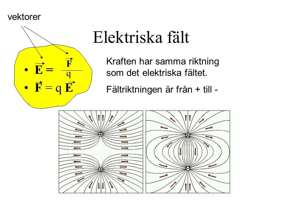 Elektriska fält E = F = q E vektorer