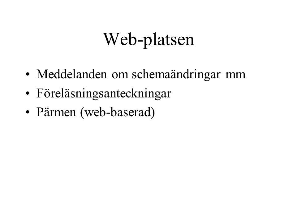Web-platsen Meddelanden om schemaändringar mm Föreläsningsanteckningar
